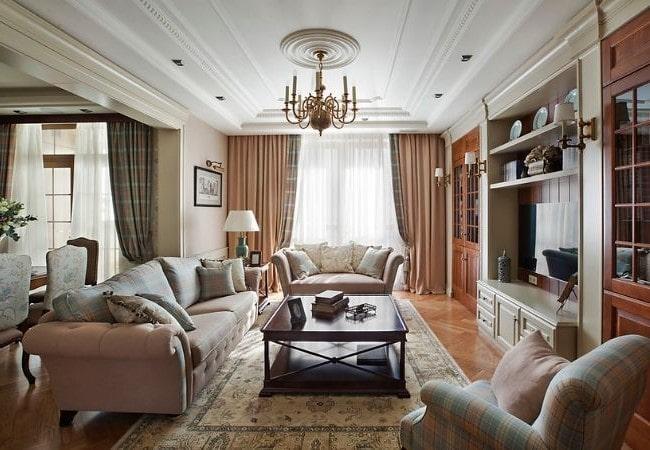 Классическая гостиная в Американском стиле