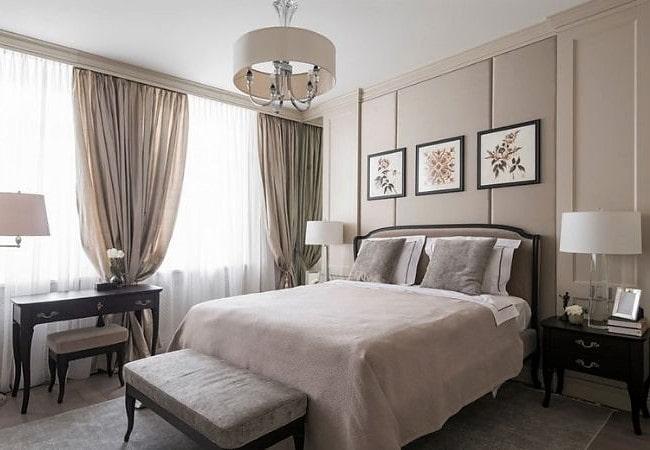 Светлая спальня в Американском стиле в нежно-розовых тонах