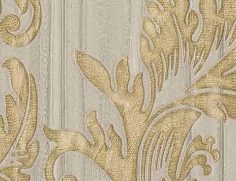 Белые флизелиновые обои с золотым рисунком Санкт-Петербург