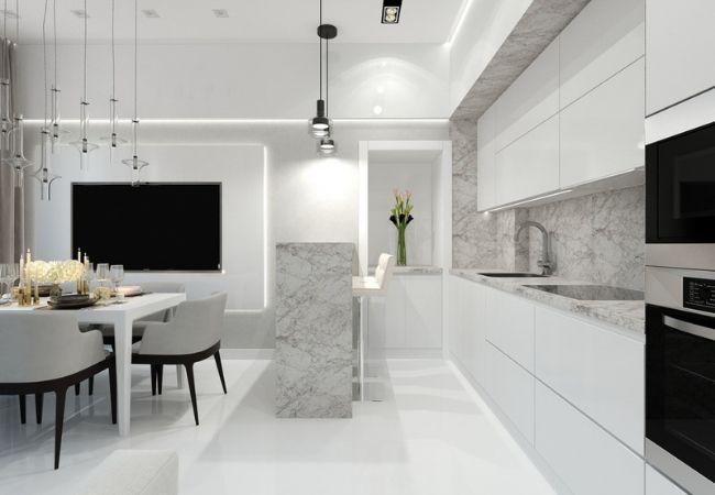 Современная кухня в мраморно-белом оформлении