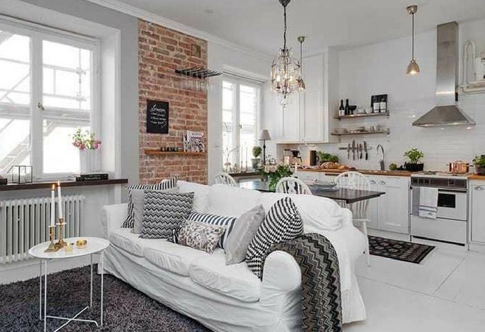 Дизайн квартиры в современном стиле с элементам лофта