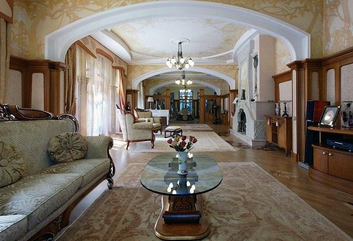 Элитный дорогой ремонт зала в классическом стиле