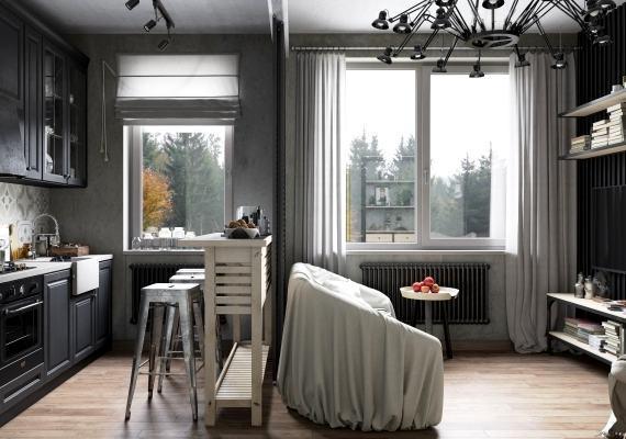 Ремонт гостиной, объединённой с кухней СПб