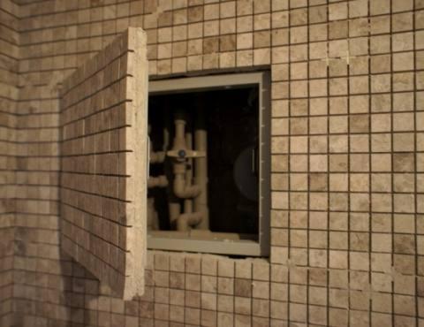 Люк под плитку мозаику в туалете