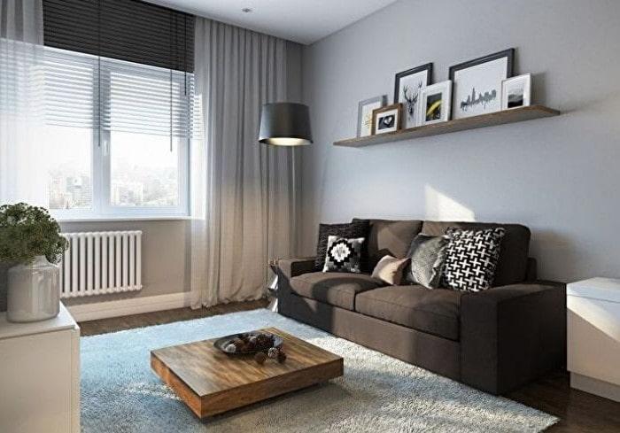 Ремонт маленькой гостиной в серых цветах