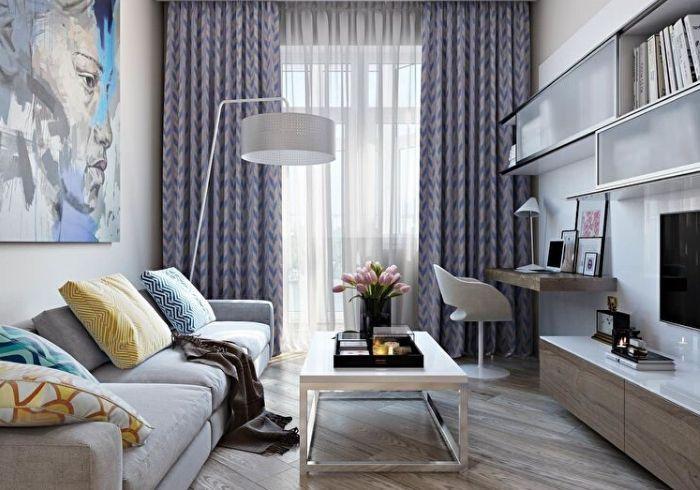 Современный ремонт маленькой гостиной с зонированием