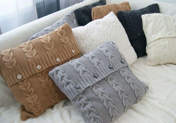 Вязаные наволочки на диванные подушки