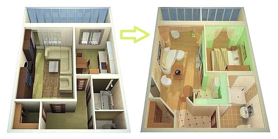Улучшенная планировка однокомнатной квартиры