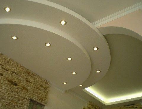 Потолок из гипрока полукруг с подсветкой СПб