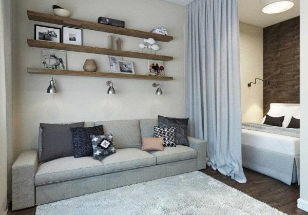 Зонирование гостевой и спальной зоны шторой