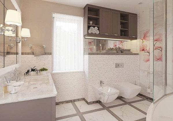 Дизайнерский ремонт совмещённой ванной комнаты в 3 комнатной квартире