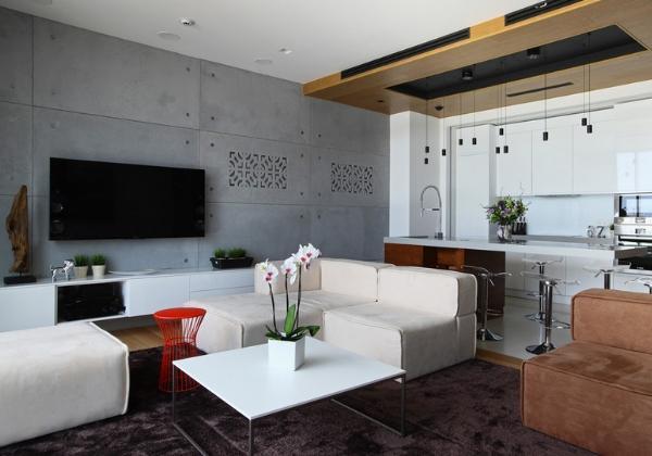 Современный ремонт объединенной гостиной и кухни