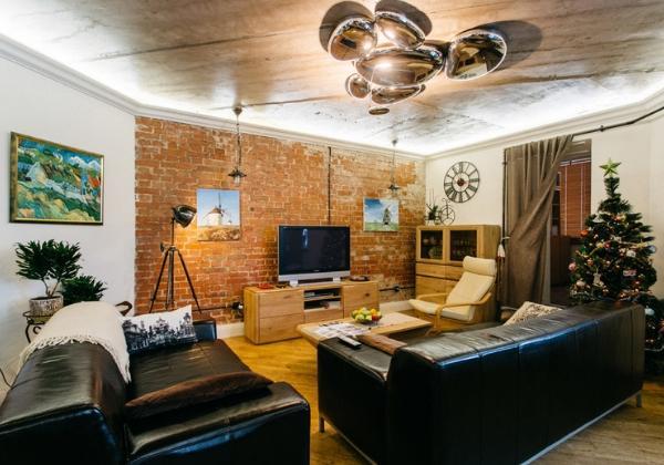 Просторная гостиная в стиле Лофт в 4-комнатной кв