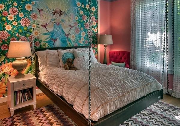 Интересный вариант ремонта детской комнаты для девочки подвесная кровать