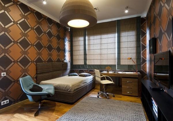 Дизайн ремонта детской для мальчика в тёмно-коричневых цветах, достаточно серьёзная, но при этом очень уютная комната