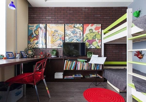 Ремонт комнаты двух мальчиков, которые очень любят комиксы и фильмы Марвел, при этом базовая отделка выдержана в сдержанных тонах, весь декор легко заменить в случае, если дети этого захотят