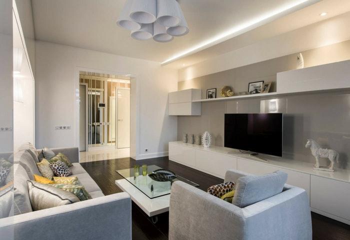 Ремонт гостиной в стиле Хай-тек в белом цвете с серыми акцентами