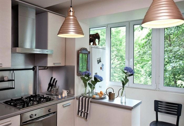 Ремонт кухни в квартире Корабле, лоджию утеплили и присоединили к жилому помещению