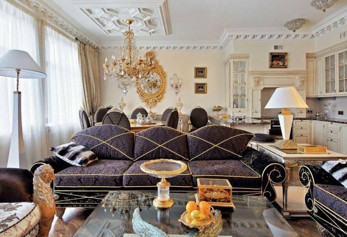 Ремонт большой комнаты в евродвушке по дизайн-проекту, стиль Модерн