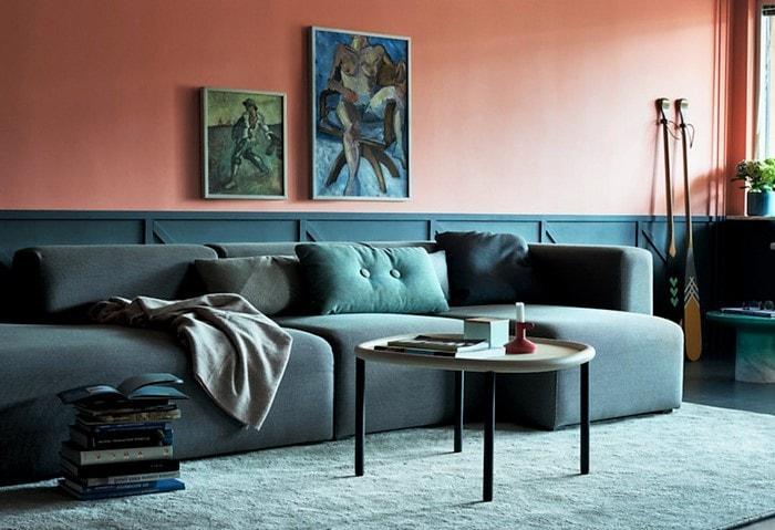 Дизайн-проект ремонта гостиной с необычным цветовым решением