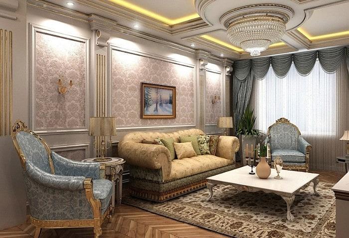 Ремонт гостиной в классическом стиле