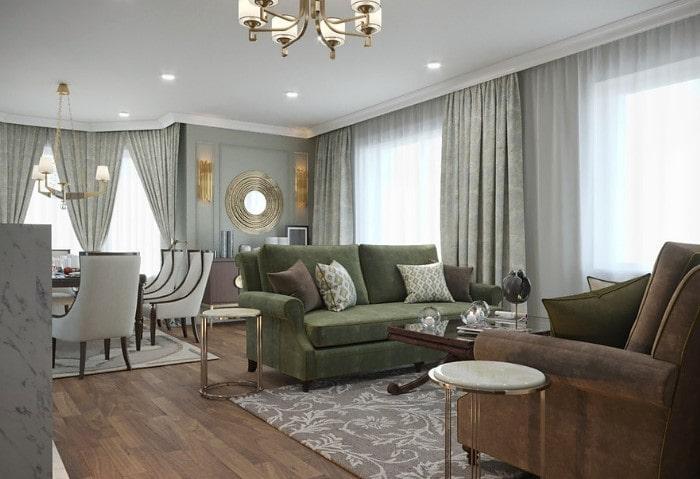 Строгая гостиная в классическом стиле, нежный изумрудный разбавлен элементами тёмно-коричневого цвета