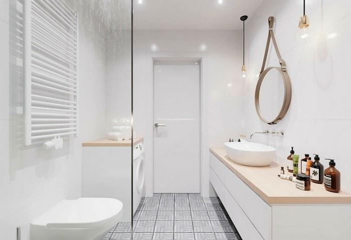Ванная в скандинавском стиле, белые стены и серая плитка на полу, обилие света