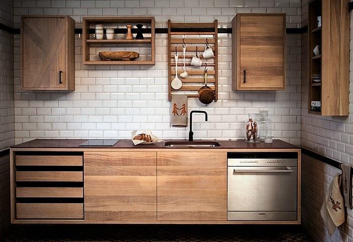 Гарнитур из дерево на кухне в скандинавском стиле