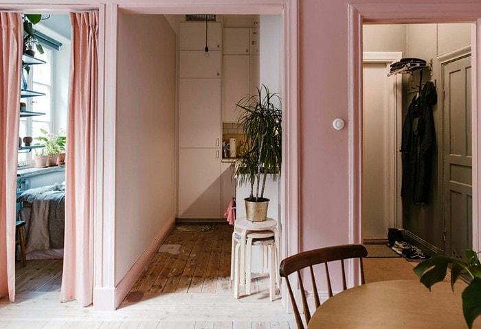 Нежно-розовые стены – тренд в скандинавских странах