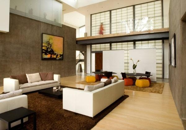 Современный двухэтажный коттедж в Японском стиле, минималистичная мебель, природные фактуры