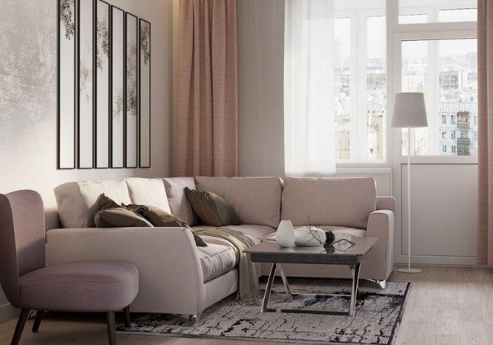 Уютная гостиная в тёплых цветах