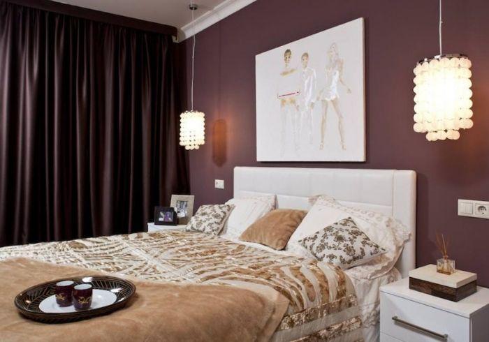 Спальня в бордовом цвете