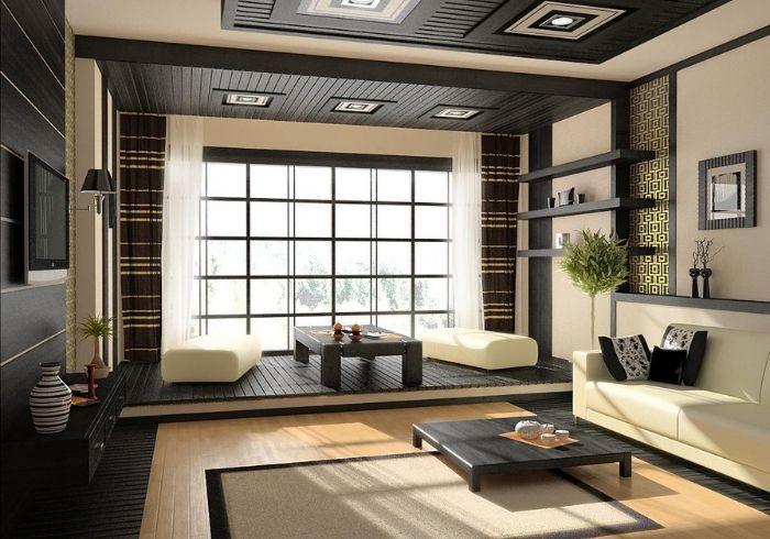 Гостиная в Японском стиле с зонированием подиумом