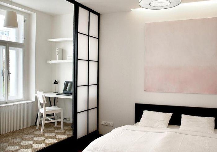 Спальня с зонированием подвижными перегородками-сёдзи
