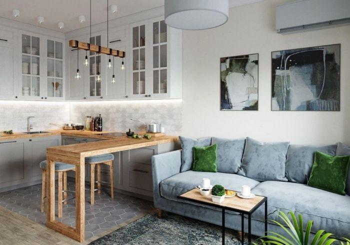 Зонирование кухни при помощи барной стойки и напольного покрытия