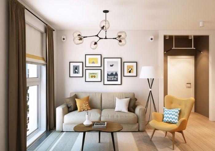 Интересный вариант зонирования комнаты цветом